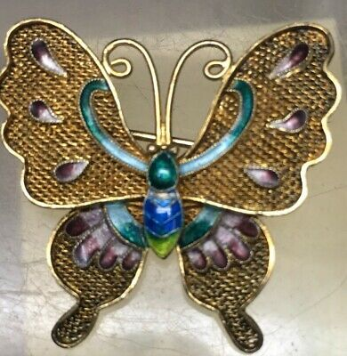 Antique Chinese Export Gold Washed Sterling Silver Enamel Butterfly Pin