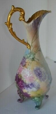 Vintage Outstanding Hand Painted Flower Signed Guthbertson ?  Pitcher Ewer Urn
