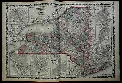 New York State Inset City Plans 1862 Johnson & Ward map Scarce Issue