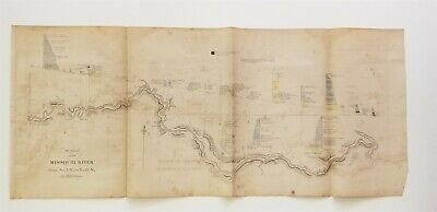 2 map Sections on the Missouri River, No 1 M to No 19 M & 20 M to40 M, Owen 1852