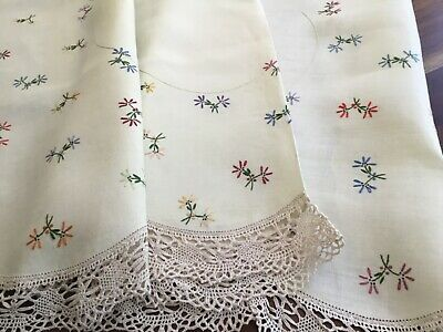Stunning Vintage Hand Embroidered Tablecloth