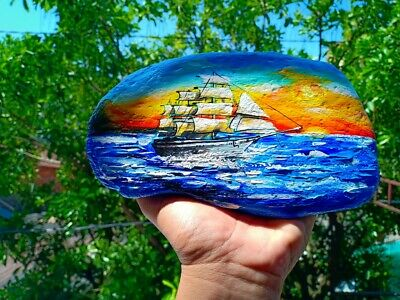 Hand Painted Boat Sea Landscape On Natural Rock Stone Art Deco Paperweight 7008