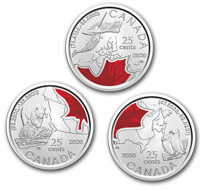 2020 Canada Connecting Canada 3 x 25 cent coloured quarter set IN STOCK