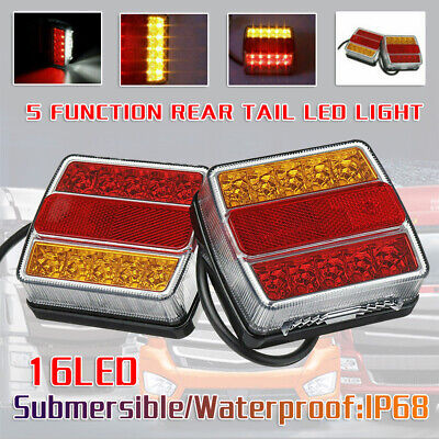 New Rear LED Submersible Trailer Tail Lights Kit Boat Marker Truck Waterproof US