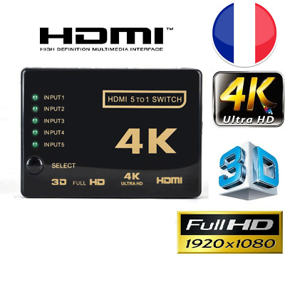 5 Ports Commutateur HDMI HUB 1080p 4K Switch Splitter 3D  Full HD Répartiteur