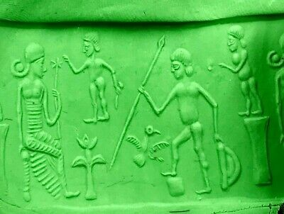 Ancient old Jasper Stone Babylonian God Intaglio Cylinder Seal Bead