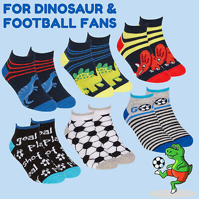 Kids Boys 3 Pairs Liner Ankle Socks Football Soccer Dino Dinosaur Trainer Cotton