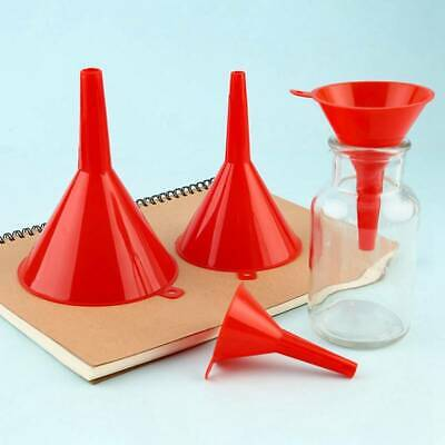 4PC Funnel Set Plastic Pouring Funnels 45/65/90/110MM Kitchen Petrol Fuel Use@vt