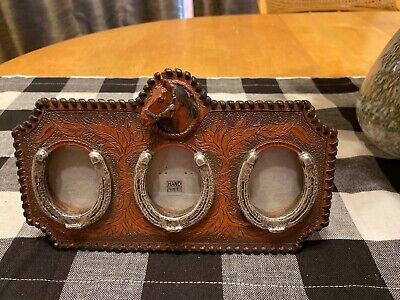 Western Theme Picture Frame With Horse Shoes And Horse