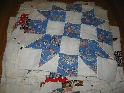 Nice Vintage Lot of 32 Quilt Blocks Hand Stitched Great Patterns in Fabric