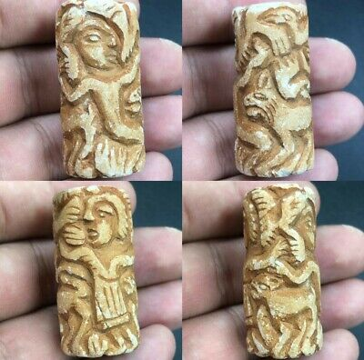 Ancient very Rare Old Bactrain Stone Near Eastern Cylinder Seal Bead