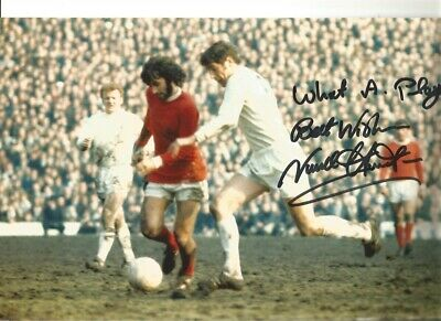 Norman Hunter Leeds United Signed 12 x 8 authentic football photograph SS748