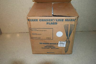 """^^ Stake Chaser/Line Mark Flags White 6"""" - New (B1)"""