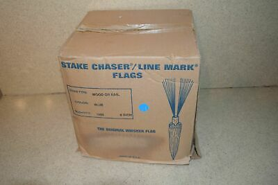 """^^ Stake Chaser/Line Mark Flags Blue 6"""" - New (A1)"""