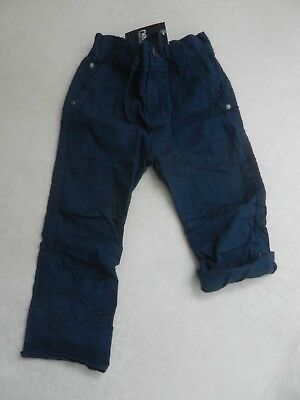 BNWT Next Boys Blue Lightweight Linen Trousers Age 4 Years Adjustable Waist