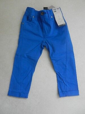 BNWT Next Boys Blue Skinny Twist Chino Trousers Age 3 Years Adjustable Waist