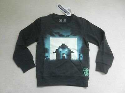 BNWT Next Boys Minecraft Glow In The Dark Jumper Sweatshirt Age 7 Years