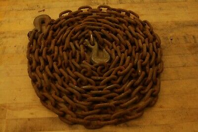 Antique Vintage 25' Log Chain Iron Chain Hook Farm Barn Rustic Steampunk Decor