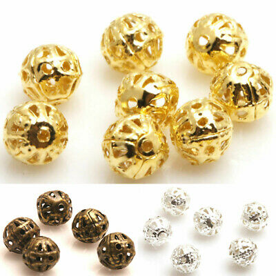 DIY 200X Silver/Gold/Copper/Metal Hollow Flower Beads 4/6/8mm Ball Spacer