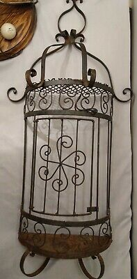 Wrought Iron Wall Decor Half Bird Cage Rustic Vintage ✋ Hand Made