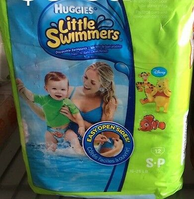 Baby Huggies LITTLE SWIMMERS Disposable Swimpants Diapers S 16-26 lb 12 ct NEW