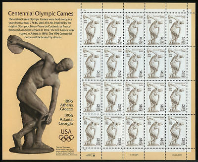 1996 32c Olympic Games, Discobolus, Sheet of 20 Scott 3087 Mint F/VF NH