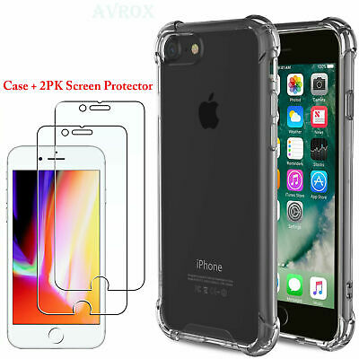 For iPhone 8 / 6 / 7 Plus Clear PC Hybrid Shockproof Protective TPU Case Cover
