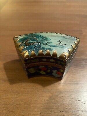 Chinese Cloisonne Pill Box With Hand Painted Stone Lid-2 1/2 Inches At Widest