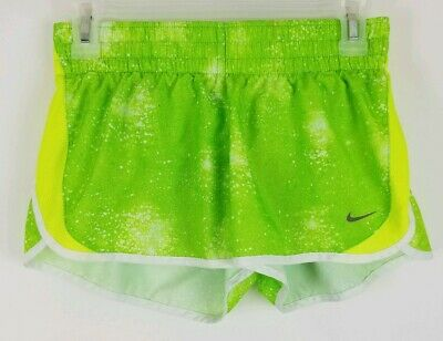 Girls Youth NIKE DRI-FIT Size Small Green Yellow White Athletic Running Shorts