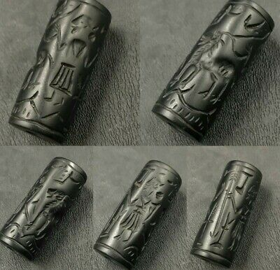 Lovely Ancient black Agate Stone Cylinder seal Stone Bead