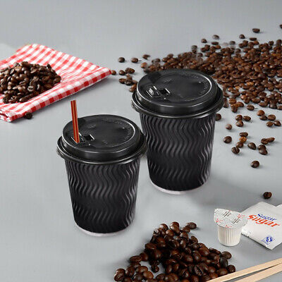 Disposable COFFEE CUPS Triple Wall 8oz 200Pcs Environmentally Friendly- Black
