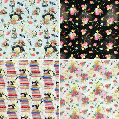 100% Cotton Fabric Sewing Machine Accessories Floral Flower 140cm Wide Crafty