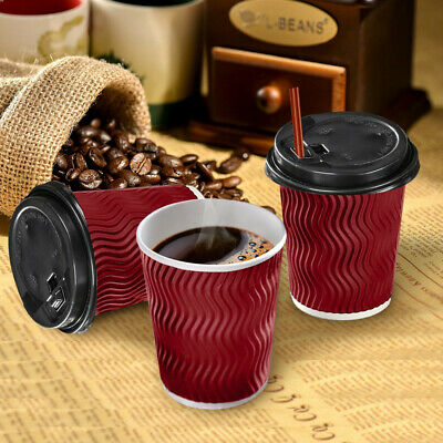 Disposable COFFEE CUPS Triple Wall 8oz 200Pcs Environmentally Friendly- Red