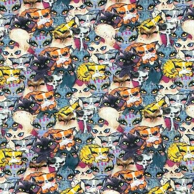 100% Cotton Fabric Crowded Cartoon Cats Kittens Kitty 140cm Wide Crafty