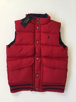 *NEW Ralph Lauren Reversible Down Vest Jewel Red / French Navy Boy Size S (8)