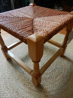 Antique carved oak & reddish/brown seagrass rustic square stool cracket