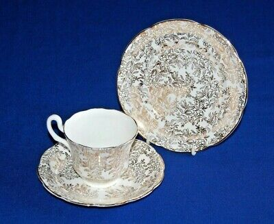 Vintage White & Gold Floral Chintz Pattern Trio, Tea Cup, Saucer & Side Plate.