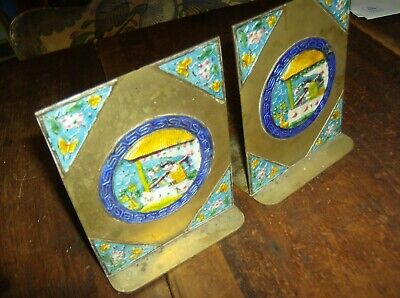 Ornate & Colorful Pair Antique Brass & Enamel Chinese Bookends