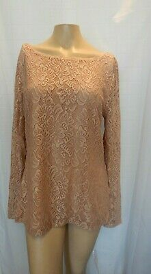 NEW White House Black Market Womens Large Pink Long Sleeve Lace Blouse L NWT