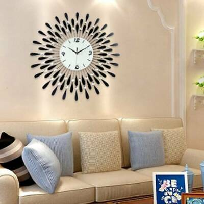 60Cm Clear Diamante Black Sunflower Metal Spiked Wall Clock Beaded Jeweled Decor