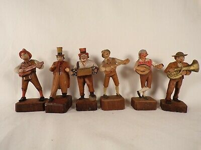 Lot of Vintage / Antique German Street Musician Carved Figures Sculpture