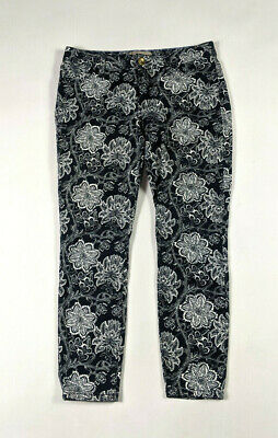 Banana Republic Womens Skinny Ankle Size 27P Navy Floral Print Pants