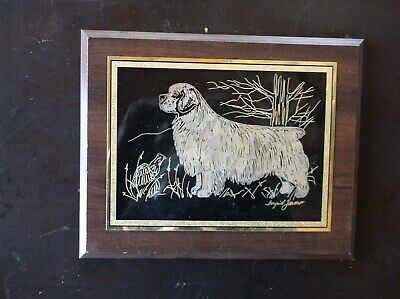 Clumber Spaniel- Beautifully hand engraved Wall Plaque by Ingerid Jonsson.