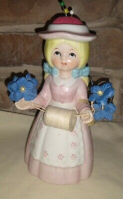 Reliance Girl Figurine Sewing Pin Cushion Scissors & Thread Holder Vintage