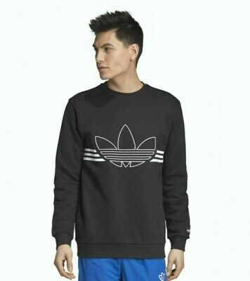 Sale NWT!!Adidas Adicolor Trefoil Crewneck French Terry Sweatshirt Grey MSRP$60