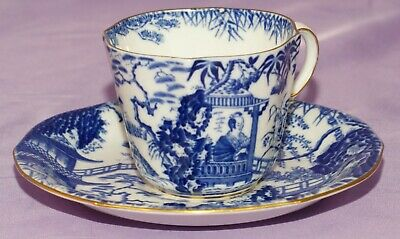 Matching 1937 Royal Crown Derby BLUE MIKADO Tea Cup & Teacup And Saucer Set