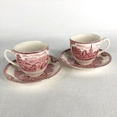 2 Sets Johnson Bros Old Britain Castles Cup and Saucer Pink Made England Tea Cup