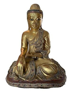 Antique gold guilded Mandalay Buddha statue from Burma 19th century
