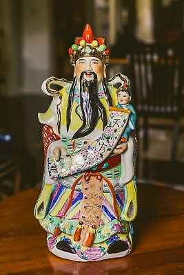 22in/56cm Qing Dynasty Porcelain China Money God Cai Shen Statue Chinese Antique