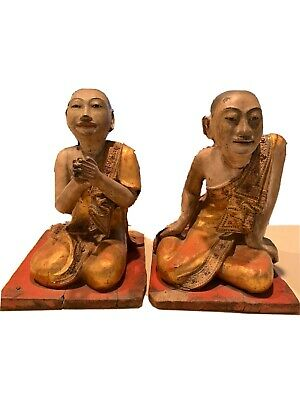 19th Century, Mandalay Antique Burmese Wooden Gold Guilded Seated Disciples Pair